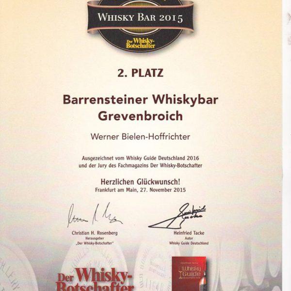 2. Platz Whisky Bar 2015
